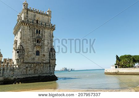 Torre de Belem, Belem Tower or the Tower of St Vincent. One of the best place to visit  in Lisbon, Portugal and UNESCO World Heritage Site.