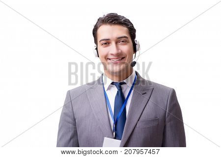 Call center employee isolated on white background