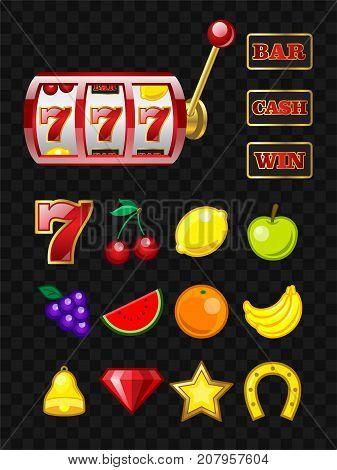 Set of game machine objects - vector realistic isolated clip art. 777 slot. Bar, cash, win signs. Banana, cherry, lemon, grape, watermelon, apple, orange, crystal, bell, horseshoe, star