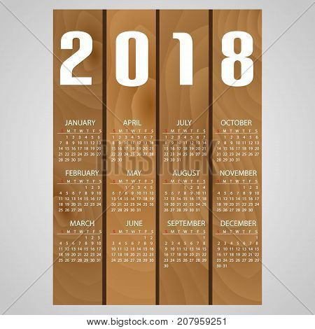 2018 Wall Calendar Wood Style Background Eps10