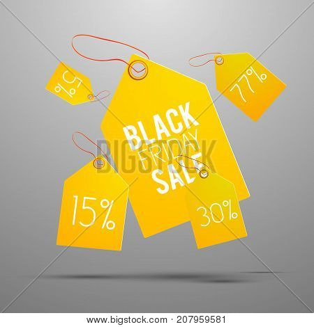 Black friday yellow tag set with healines on pricetag and on gray background with shadows vector illustration