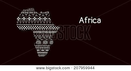 Textured Africa continent in black and white mudcloth ornament, vector background
