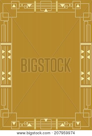 Golden background with golden embossed art deco frame. Elegant unusual document background for certificate, diploma, voucher, Vector EPS 10
