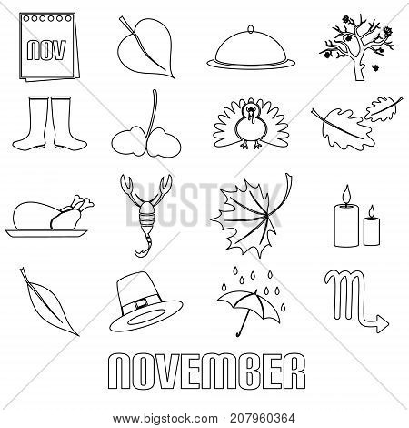 November Month Theme Set Of Simple Outline Icons Eps10