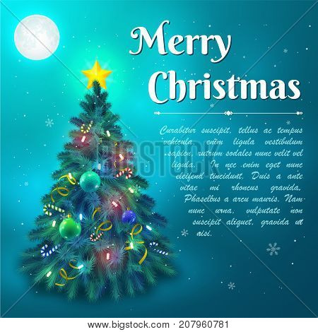 Decorated with baubles and lights christmas fir tree in moonlight background flat vector illustration