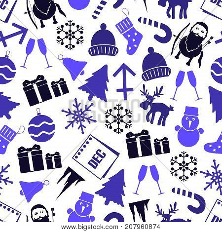 December Month Theme Set Of Icons Seamless Pattern Eps10