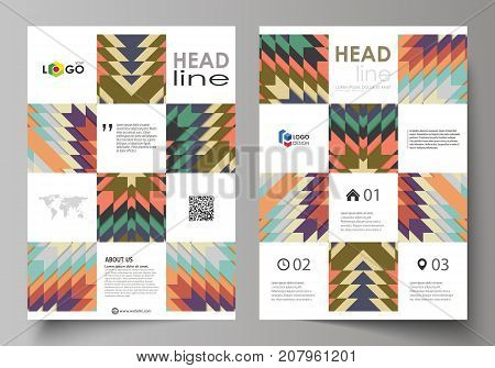 Business templates for brochure, flyer, booklet. Cover design template, abstract vector layout, A4 size. Tribal pattern, geometrical ornament, ethno syle, ethnic backdrop, vintage fashion background