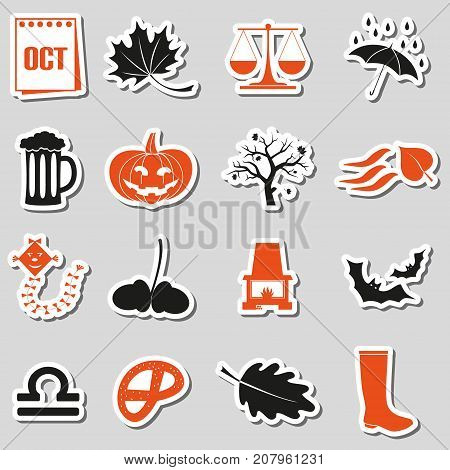 October Month Theme Set Of Simple Stickers Eps10