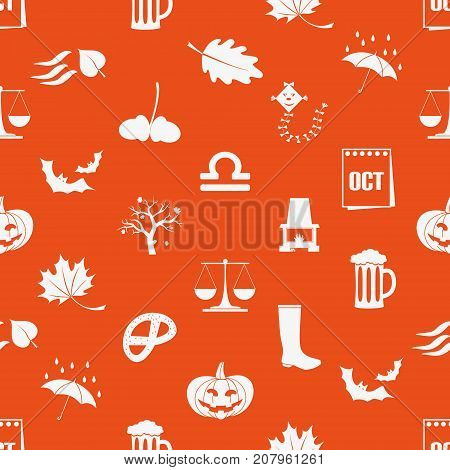 October Month Theme Set Of Icons Orange Seamless Pattern Eps10
