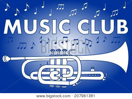 Music club banner with trumpet and music notes in white and blue design on gradient background, Vector EPS 10