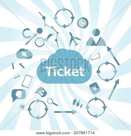 Text Ticket. Business Concept . Set Of Web Icons For Business, Finance And Communication