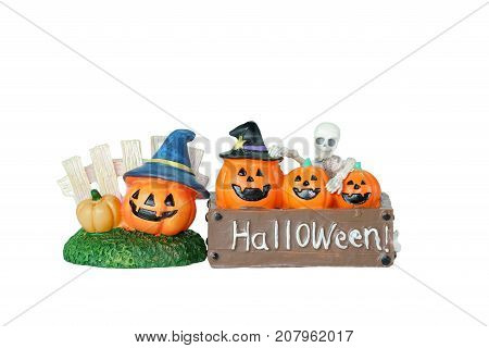 Halloween concept : Plastic human skeleton model ceramic pumpkins and Halloween sign isolated on white background