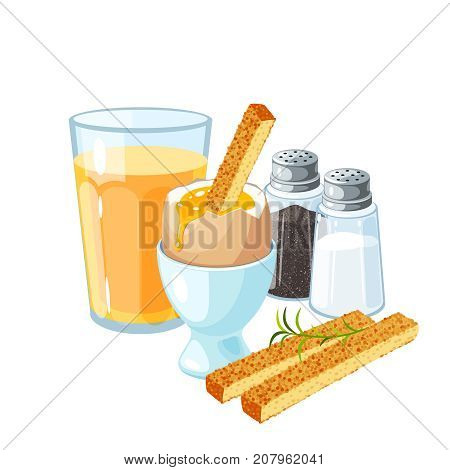 Toast soldiers. Soft-boiled egg in eggshell in egg holder. Pair of transparent glass shaker salt and pepper. A glass of orange juice. Vector illustration cartoon flat icon set isolated on white.