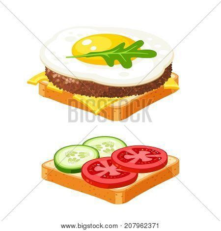 Couple sandwich. Sliced veggies cutlet omelette. Vector illustration cartoon flat icon collection isolated on white.