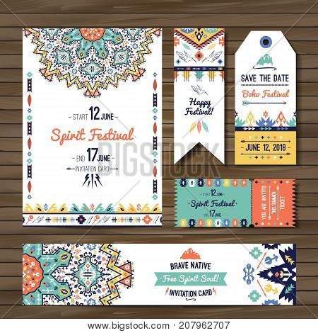 American indian ornate pattern design. Flyer design in bohemian style