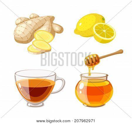 A glass pot full of honey honey dipper sliced ginger lemon and cup of tea. Vector illustration cartoon flat icon isolated on white.