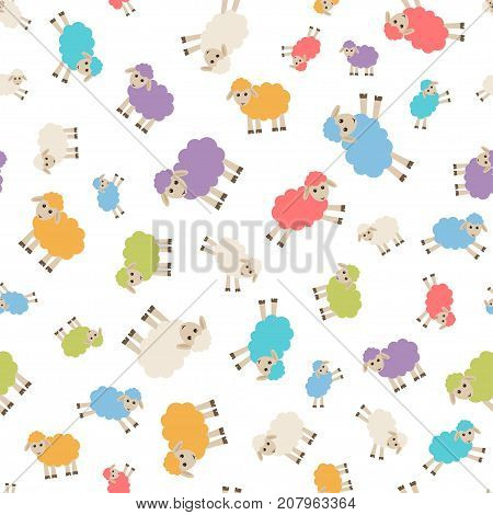 seamless pattern with colorful cute sheep on white background