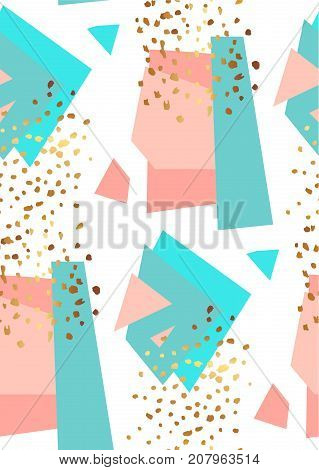 Abstract geometric seamless pattern in white, gold, blue and pastel pink. Hand drawn vintage texture, lines, dots pattern and geometric elements. Modern abstract design poster, cover, card design