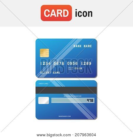 Illustration Credit Card Icon. Realistic Vector Credit Card Two Sides