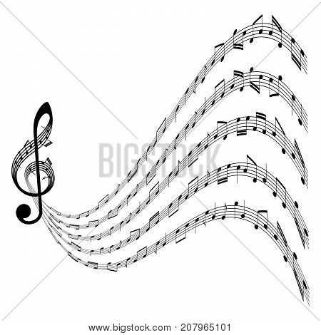 vector music background with clef and notes on white background isolated illustration abstract musical design