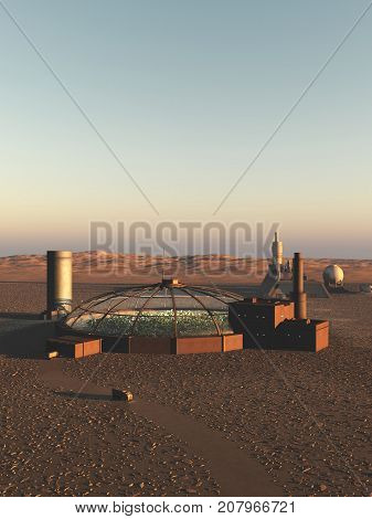 Science fiction illustration of a biodome on an alien desert planet, digital illustration (3d rendering)