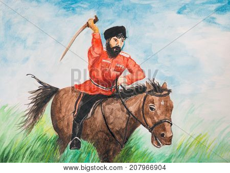 Cossack with a sword on a horse