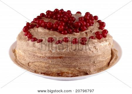 A cake with sour cream and berries
