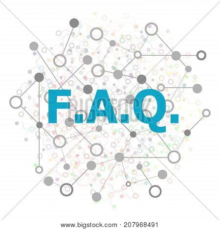 Text Faq. Education Concept. Frequently Asked Questions . Stylized Low Poly Concept With Wired Const