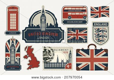 Vector set of British symbols stamps architectural landmarks and flag of the United Kingdom in retro style