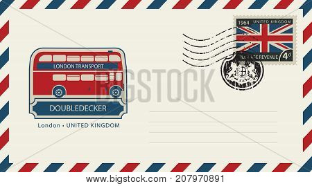 Vector envelope with London doubledecker a postage stamp with flag of United Kingdom and rubber stamp in form of royal coat of arms