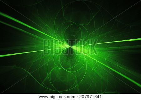 Futuristic glowing green lines and curves in space computer generated abstract background 3D rendering