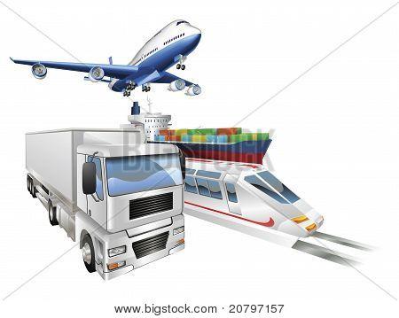 Logistics Concept Airplane Truck Train Cargo Ship