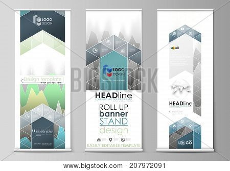 The minimalistic vector illustration of the editable layout of roll up banner stands, vertical flyers, flags design business templates. Rows of colored diagram with peaks of different height