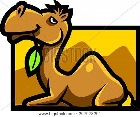 Cartoon cute lazy camel character holding a leave in the mouth, mascot vector illustration