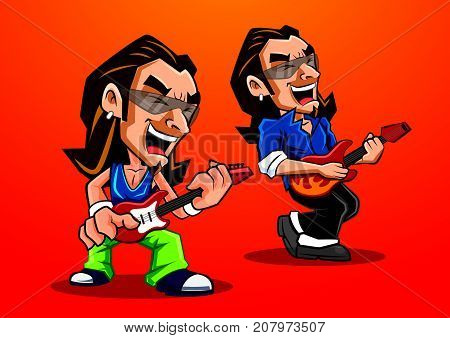 Rocker playing guitar in red background, mascot character illustration