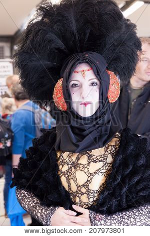 NORWICH NORFOLK / UK - OCTOBER 7th 2017: NORCON The Norfolk TV Film and Comic Convention with displays exhibits celebrities talks traders selling merchandise and bespoke cosplay accessories. Queen Amidala character from Star Wars