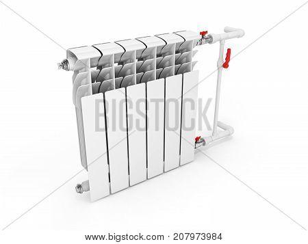 Heating White Radiator Isolated On White Background 3D