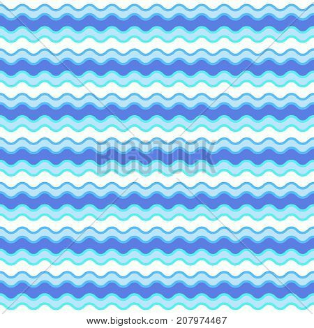Vector seamless pattern with horizontal wavy lines. Wavy lines of maritime color. Ripple texture. Endless repeat texture in EPS10 format.