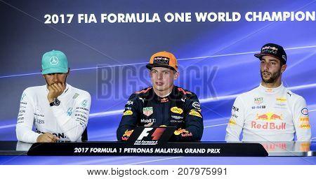 Lewis Hamilton, Daniel Ricciardo & Max Verstappen
