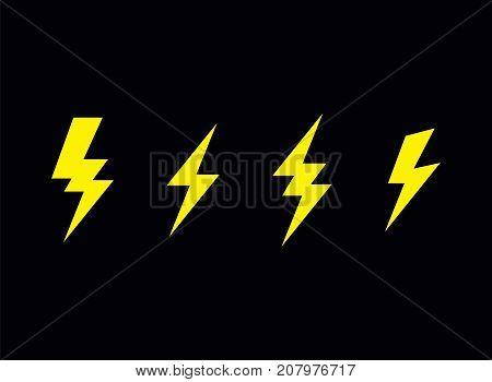 lightning bolt flash vector  icon set sign