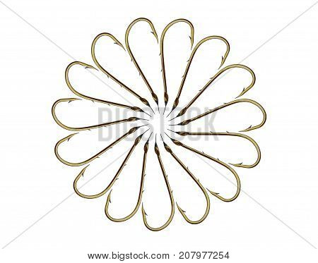 Fifteen fishing hooks forming a shape of flower isolated on white background