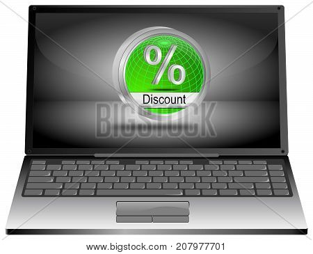 Laptop Computer with green Discount button - 3D illustration