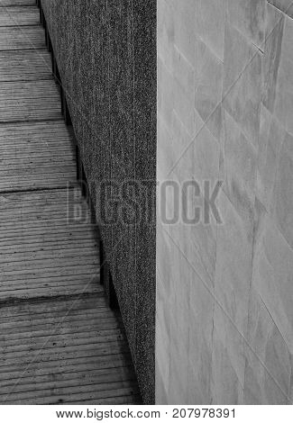 abstract concrete corner wall with different textures and surfaces