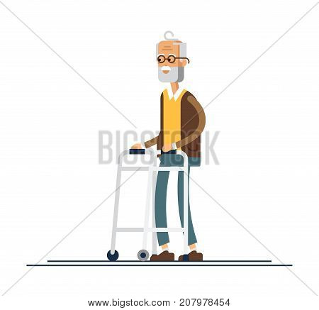 Grandpa walking with a walker. Vector illustration in a flat style. Old man in retirement