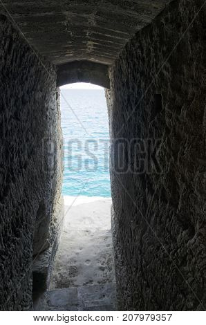View of secret passage that ends in the sea
