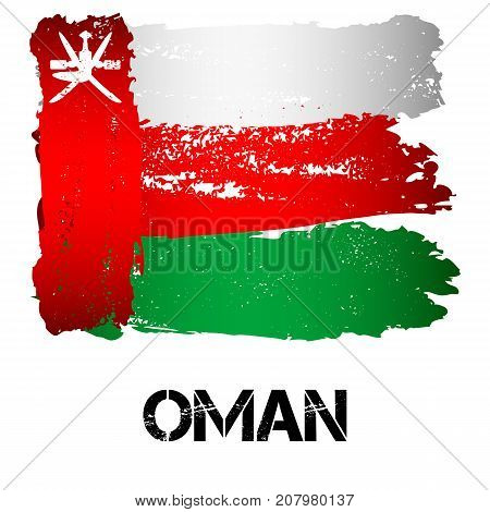 Flag of Kuwait from brush strokes in grunge style isolated on white background. Arab sultanate on southeastern coast of Arabian Peninsula in Western Asia. Vector illustration