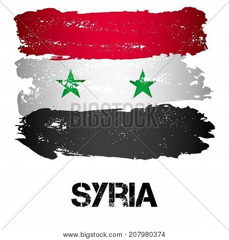 Flag of Syria from brush strokes in grunge style isolated on white background. Levant state in Western Asia bordering Mediterranean Sea to west. Vector illustration