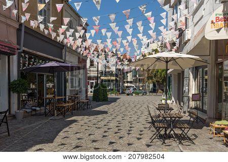 PLOVDIV, BULGARIA - SEPTEMBER 1, 2017:  Street in district Kapana, city of Plovdiv, Bulgaria