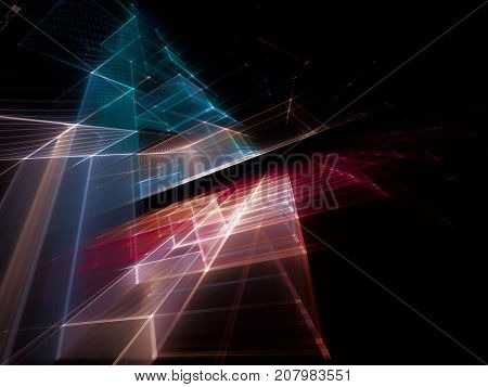 Abstract multicolor background element on black. Fractal graphics series. Three-dimensional composition of repeating grids. Information technology concept.