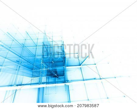 Abstract blue and white background element. Fractal graphics series. Three-dimensional composition of repeating grids. Information technology concept.